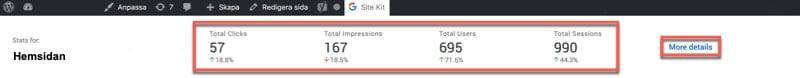 Google SiteKit för WordPress ger en överblick direkt inne på din WP-sida